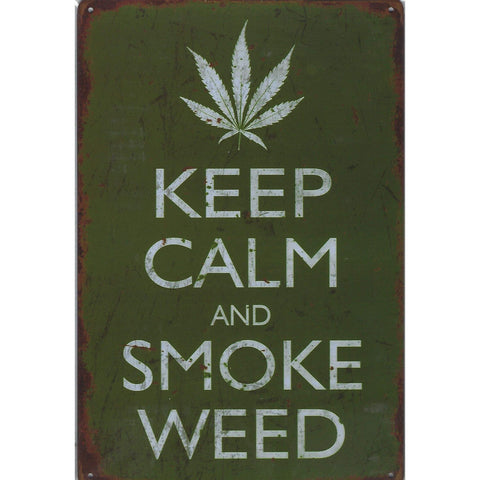 Keep Clam & Smoke Weed Tin Sign-Mr Revhead