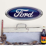 Large Ford Oval Emblem Metal Sign-Mr Revhead