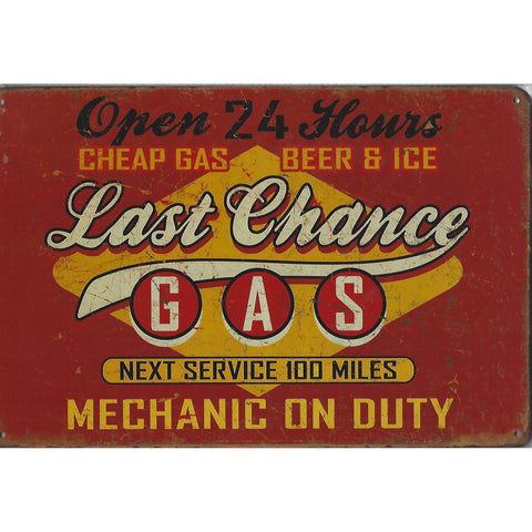Last Chance Gas Tin Sign-Mr Revhead