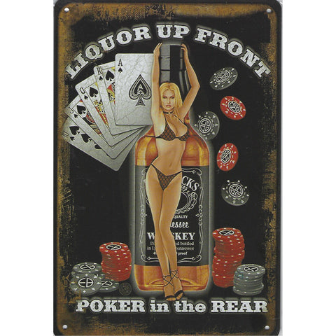 Liquor Poker Tin Sign-Mr Revhead