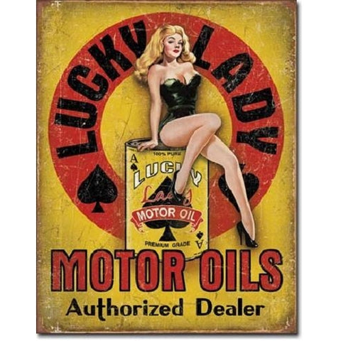 Lucky Lady Motor Oil Tin Sign-mightymoo