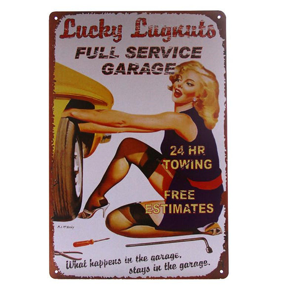 Lucky Lugnuts Pinup Tin Sign-Mr Revhead