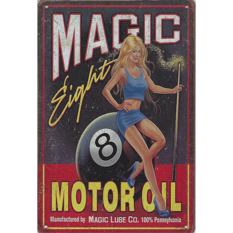 Magic Eight Motor Oil Tin Sign-Mr Revhead