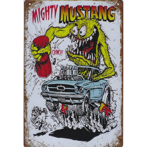 Mighty Mustang Tin Sign-Mr Revhead