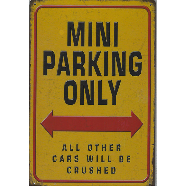 Mini Parking Only Tin Sign-Mr Revhead