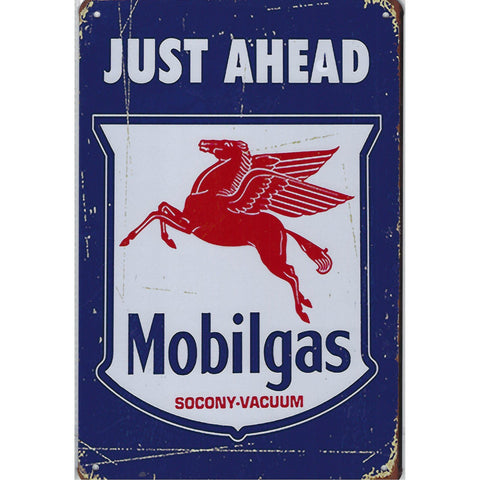 Mobil Gas Just Ahead Tin Sign-Mr Revhead