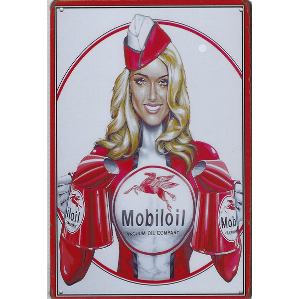 Mobil Oil Top Up Tin Sign-Mr Revhead