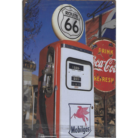 Mobil Route 66 Pump Tin Sign-Mr Revhead