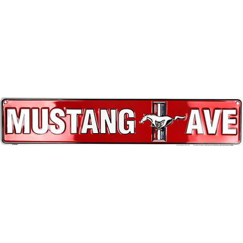 Mustang Ave Street Tin Sign-Mr Revhead