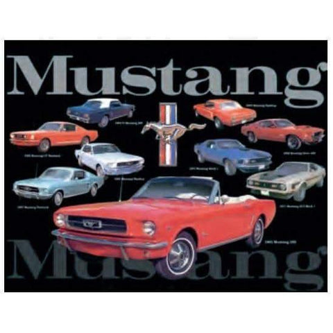 Mustang Montage Tin Sign-mightymoo