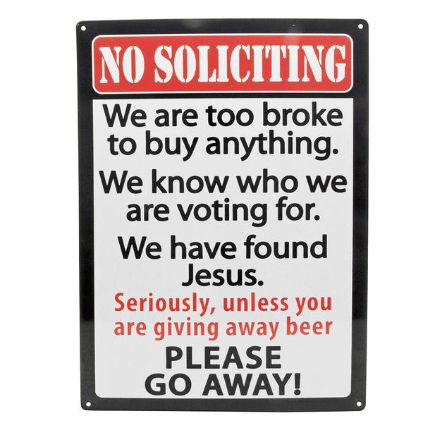 No Soliciting Tin Sign-Mr Revhead