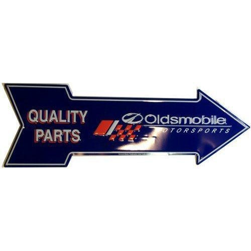 Oldsmobile Quality Parts Arrow Tin Sign-Mr Revhead