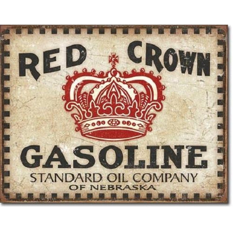 Red Crown Gasoline - Checker Board Tin Sign-mightymoo