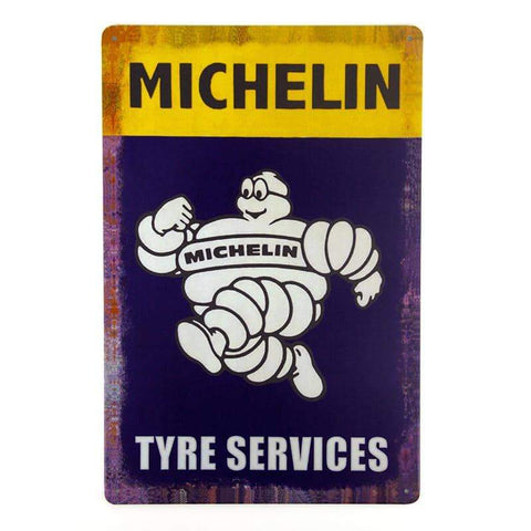 Retro Michelin Tyre Services Tin Sign-mightymoo
