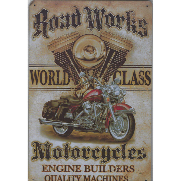 Road Works Motorcycles Tin Sign-Mr Revhead