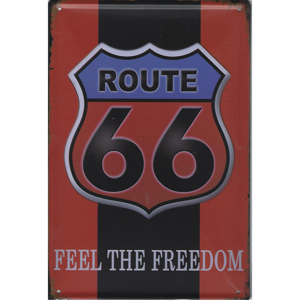 Route 66 Feel The Freedom Tin Sign-Mr Revhead