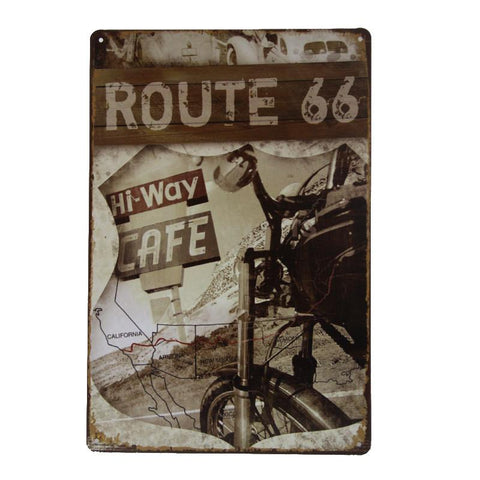 Route 66 - Hi-Way Cafe Tin Sign-Mr Revhead