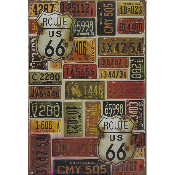Route 66 License Plates Tin Sign-Mr Revhead