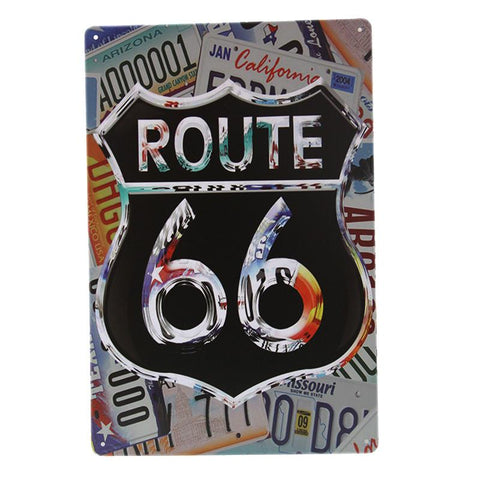 Route 66 Number Plates Tin Sign-Mr Revhead