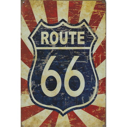 Route 66 Rising Tin Sign-Mr Revhead
