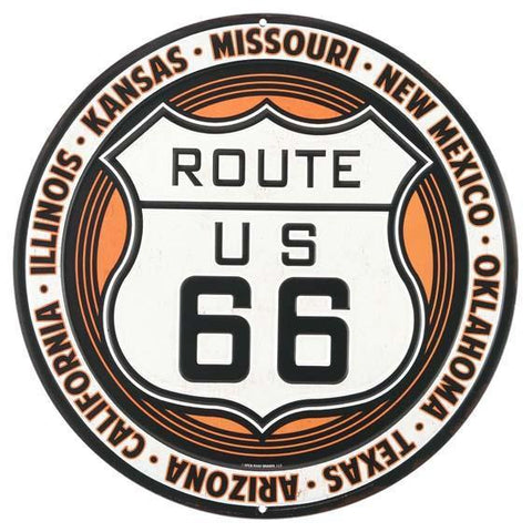 Route 66 Round Tin Sign-Mr Revhead