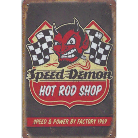 Speed Demon Hot Rod Shop Tin Sign-Mr Revhead