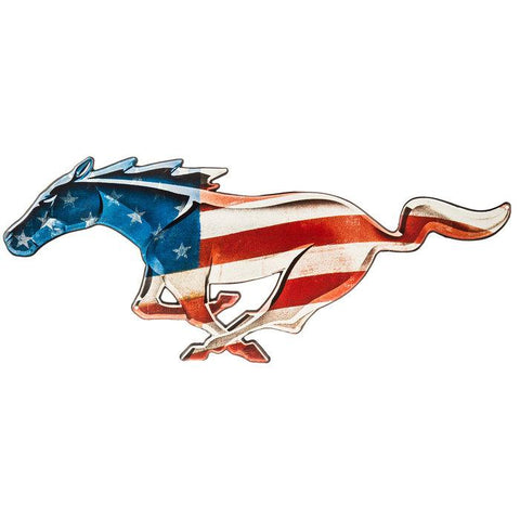 Stars & Stripes Ford Mustang Horse Tin Sign-Mr Revhead