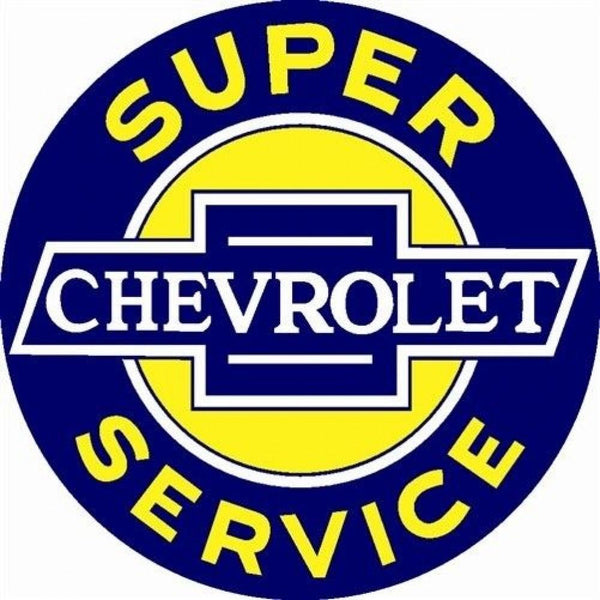 Super Chevrolet Service Round Tin Sign-Mr Revhead
