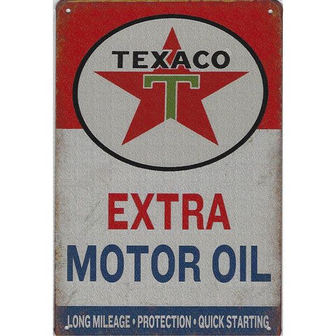 Texaco Extra Motor Oil Tin Sign-Mr Revhead