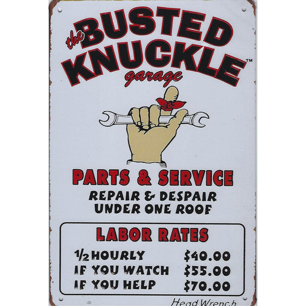 The Busted Knuckle Garage Rates Tin Sign-Mr Revhead