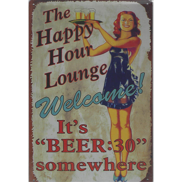 The Happy Hour Lounge Tin Sign-Mr Revhead