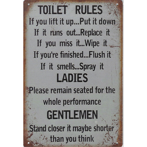Toilet Rules Tin Sign-Mr Revhead