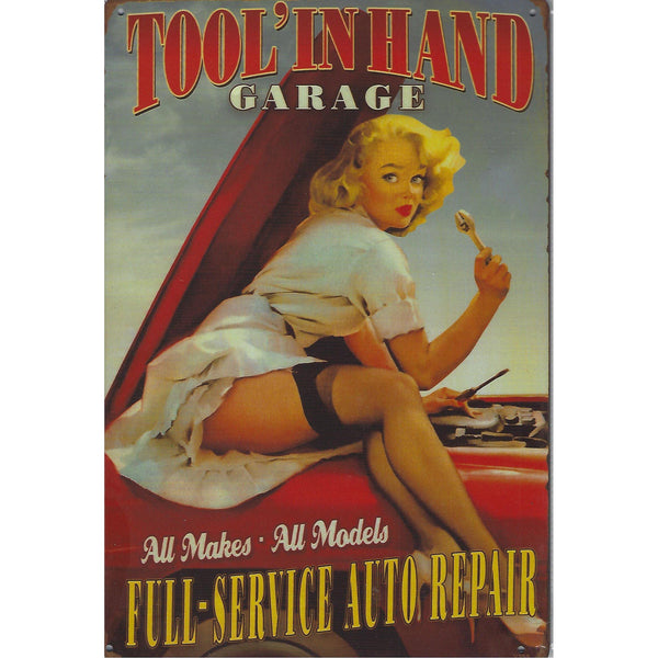 Tool In Hand Garage Tin Sign-Mr Revhead