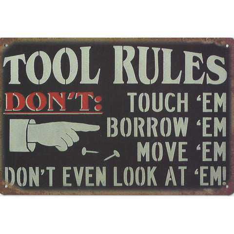 Tool Rules Tin Sign-Mr Revhead