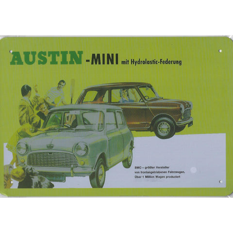 Vintage Austin Mini Advert Tin Sign-Mr Revhead