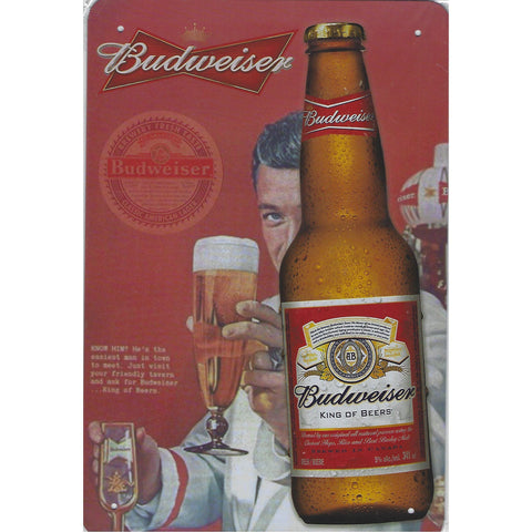 Vintage Budweiser Beer Tin Sign-Mr Revhead