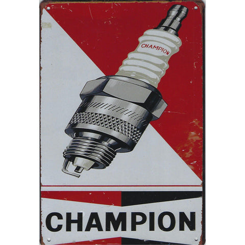 Vintage Champion Spark Plugs Tin Sign-Mr Revhead