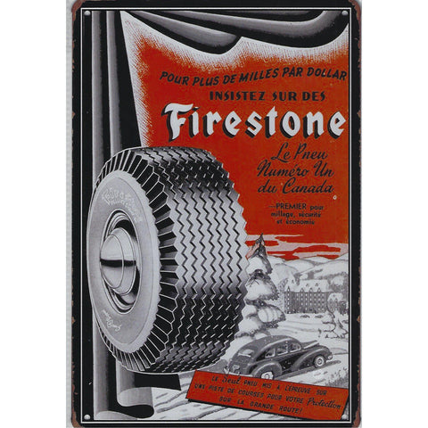 Vintage Firestone French Advert Tin Sign-Mr Revhead