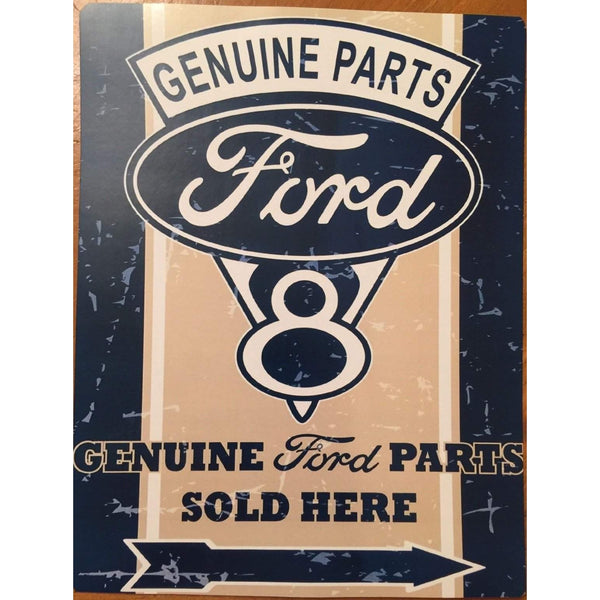 Vintage Ford V8 Genuine Parts Sold Here Tin Sign-Mr Revhead