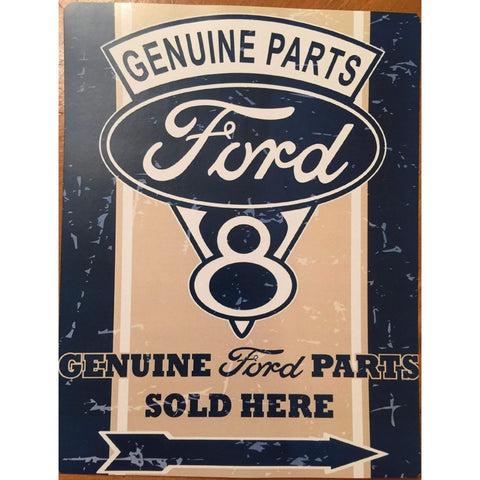 Vintage Ford V8 Genuine Parts Sold Here Tin Sign-mightymoo