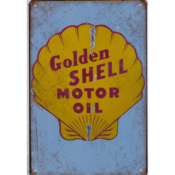 Vintage Golden Shell Tin Sign-Mr Revhead