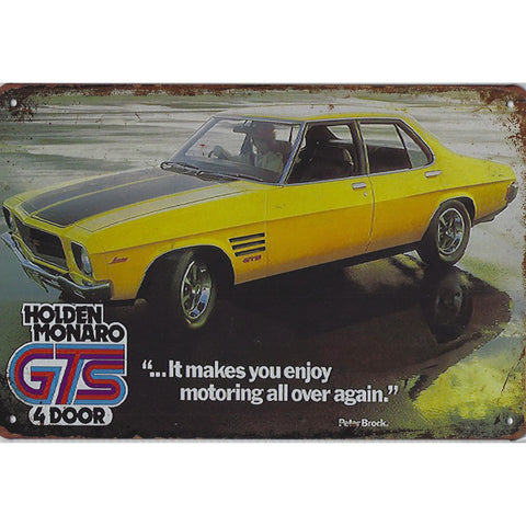 Vintage Holden Monaro GTS Advert Tin Sign-Mr Revhead