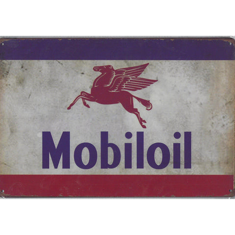 Vintage Mobil Oil Tin Sign-Mr Revhead