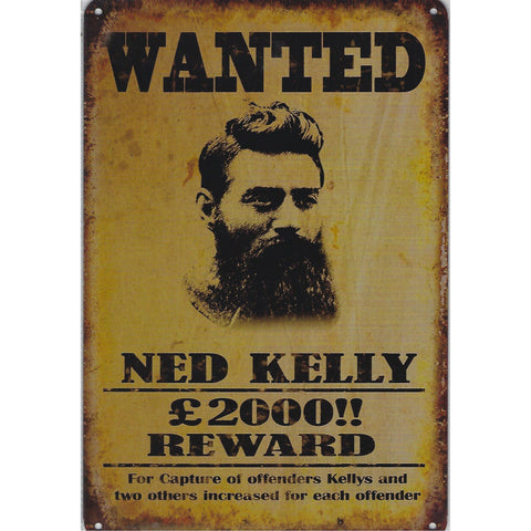 Wanted Ned Kelly Tin Sign-Mr Revhead