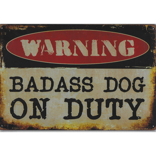 Warning Bad Ass Dog Tin Sign-Mr Revhead
