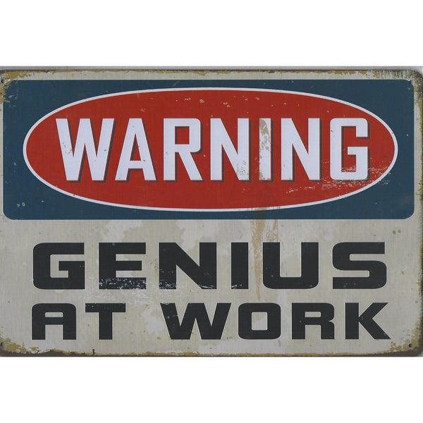 Warning Genius At Work Tin Sign-Mr Revhead
