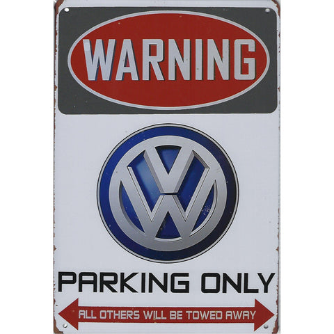 Warning VW Parking Only Tin Sign-Mr Revhead