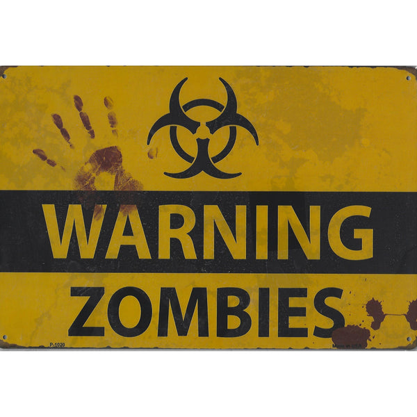 Warning Zombies Tin Sign-Mr Revhead