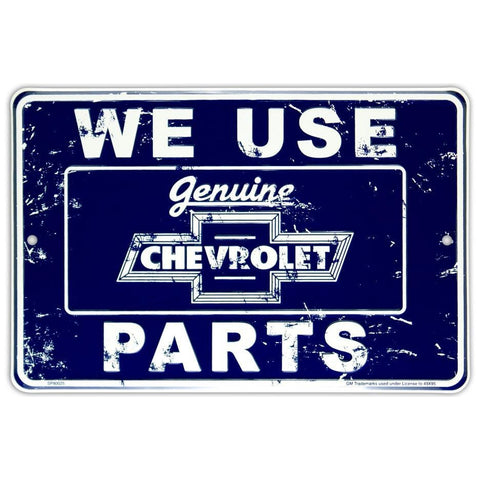 We Use Genuine Chevrolet Parts Blue Tin Sign-Mr Revhead