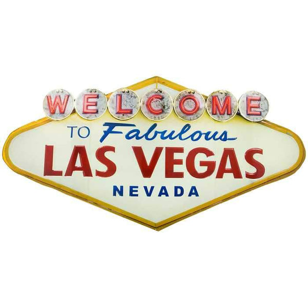 Welcome to Fabulous Las Vegas, Embossed Tin Sign,-Mr Revhead